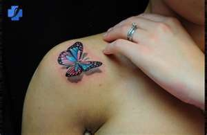 3d tattoos blue butterfly... Love this 3D tat!