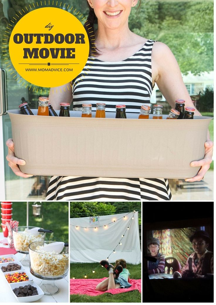 DIY Outdoor Movie Night from MomAdvice.com. A tutorial for making a great screen from sheets, crafts, and recipe ideas for your best backyard movie night!