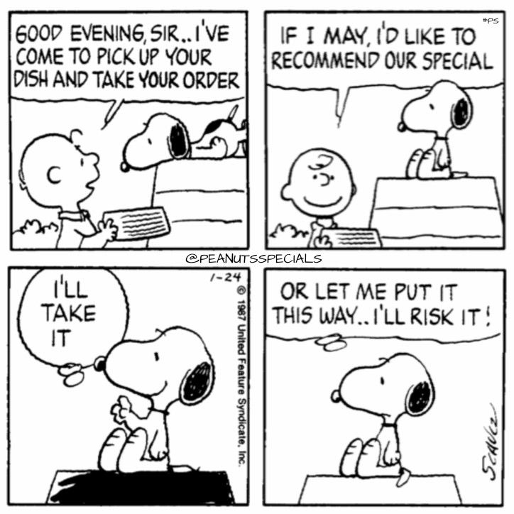 First Appearance: January 24, 1987 #peanutsspecials #ps #pnts #schulz #snoopy #charliebrown #goodevening #sir #dish #order#recommend #special #riskit www.peanuts.com