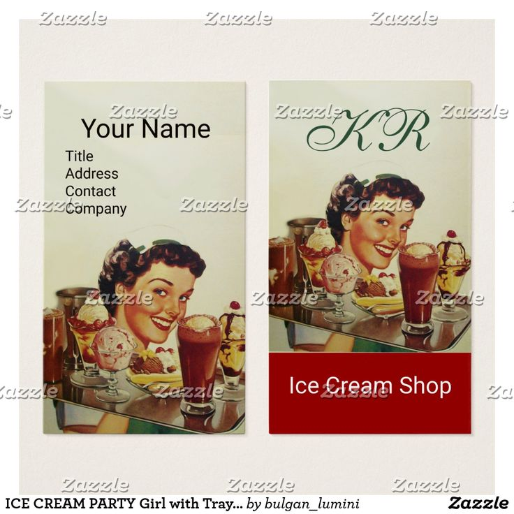 ICE CREAM PARTY Girl with Tray of Ice Creams Business Card #food #icecream #sweet #chef #catering #caterer #yummy