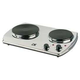 Portable stainless steel and cast iron hotplate with a double burner and automatic safety shut-off. Product: Hot plate  Construction Material: Stainless steel and cast iron    Color: Chrome and black  Features:   Automatic safety shut-off with thermal fuse   Easy to clean, compact and portable  Dimensions:   Overall: 18.5 H x 11.9 W x 2.5 D  Large Burner: 7.5 Diameter  Small Burner: 6.1 Diameter