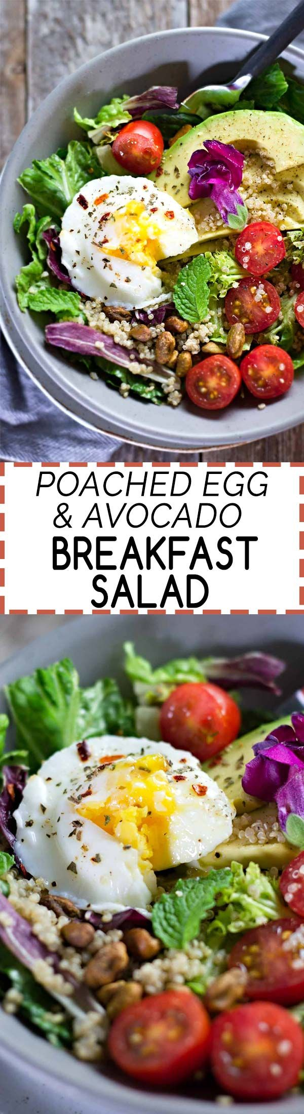 Poached Egg & Avocado Breakfast Salad! Deliciously healthy and only takes 10 minutes to make ;) {Gluten-Free}