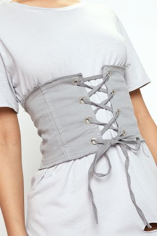Simone Grey Frill Lace Up Corset Belt