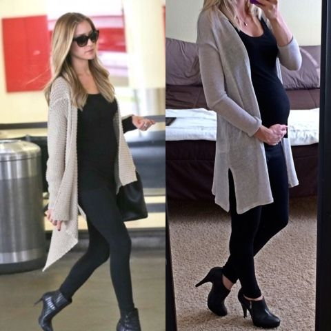 Thrifty Wife, Happy Life: Kristin Cavallari maternity looks for less. Black leggings and top with a long cardigan.