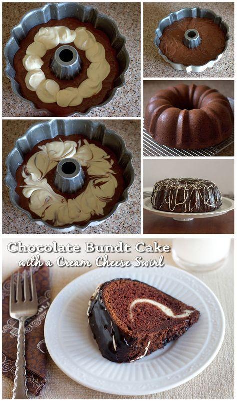 Chocolate Bundt Cake with a Cream Cheese Swirl - A moist, chocolate sour cream bundt cake covered in a rich chocolate ganache with a luscious cream cheese swirl hiding inside.