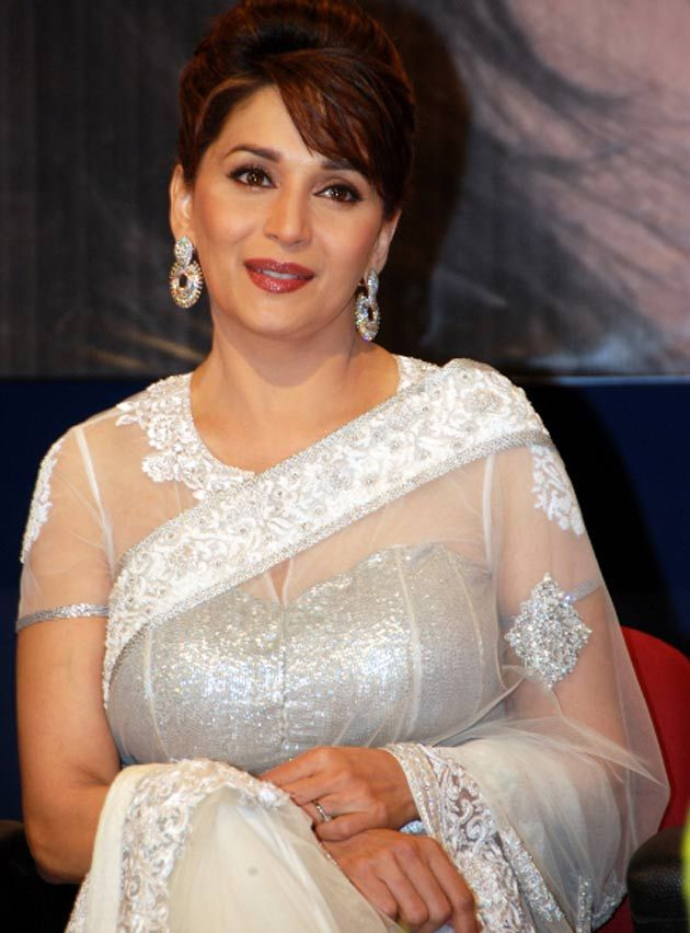Madhuri in a decent impersonation of a 1930s Hollywood diva.