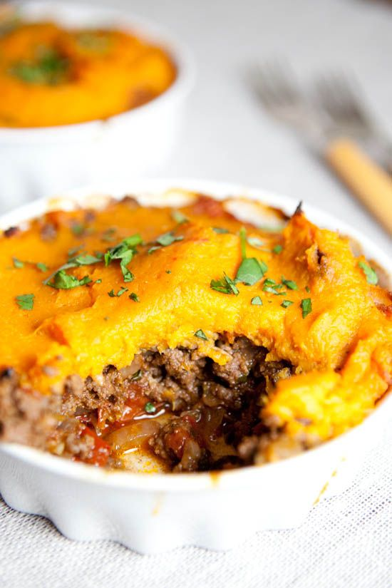 Moroccan shepherd's pie with a creamy sweet potato mash, two ways: vegan with chickpeas or non-vegan with lamb or beef | (Vegan, Gluten-Free, Paleo) Please repin! http://ourfourforks.com/moroccan-shepherds-pie-sweet-potato/