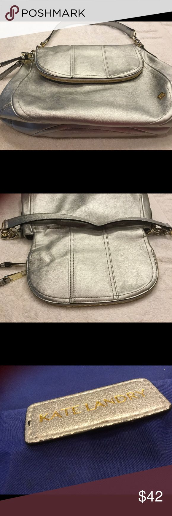 Silver Shoulder Bag Silver Bag with Gold & Silver Accents, flap of bag has extra storage 1 - used once Kate Landry Bags Shoulder Bags