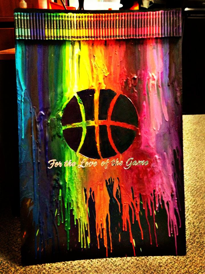 melted basketball crayon art for the love of the game