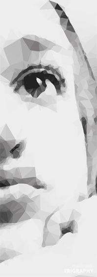 Pensativa, ilustración basada en vectores y triángulos, imagen a cualquier tamaño para impresión