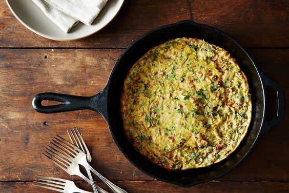 Baked Onion-Walnut Frittata, a recipe on Food52 - maybe add bleu cheese