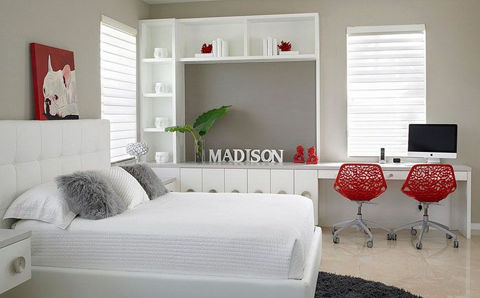 Красные акценты в интерьере спальни