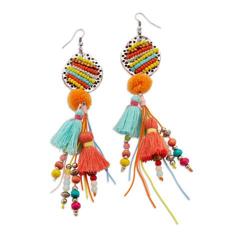 Funky and whimsical rainbow tassel statement earrings have it all going on -- beads, tassels, even pom poms; a bohemian goddess's dream!