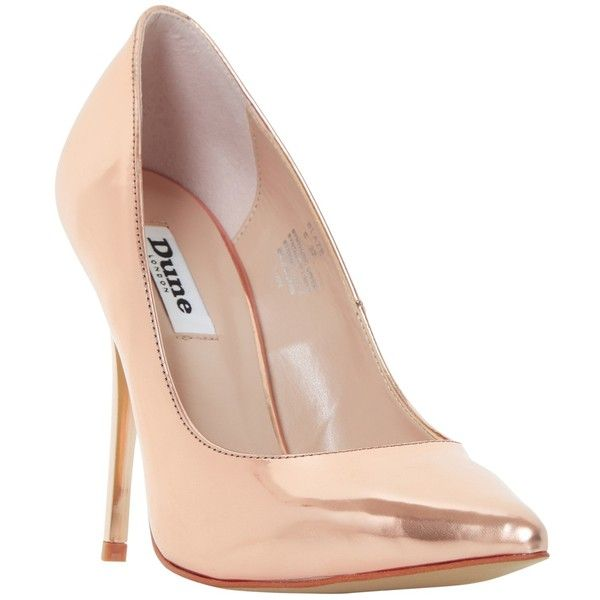 Dune Blaze Stiletto Heeled Court Shoes , Rose Gold found on Polyvore featuring shoes, pumps, heels, rose gold, high heels pumps stilettos, high heel pumps, high heel stilettos, low heel pumps and flat shoes