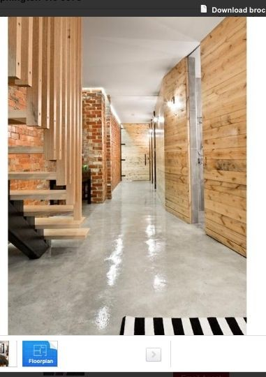 Timber panels and polished concrete