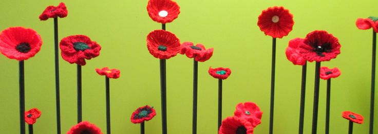 Anzac Day 2014: display of crafted poppies at Bega library made by the local community.