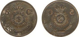 Token van 5 Cent 'Leger des Heils' (Kooij DO-.-) - VZ Het Leger wapen (crest) en 5-Ct. / KZ Bracteaat (incuse) - zink 2.73 gram 31.2 mm - ZF, zeldzaam