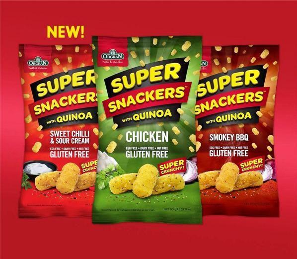 ORGRAN SUPER SNACKERS - SWEET CHILLI & SOUR CREAM, CHICKEN & SMOKEY BBQ -ALL VEGAN