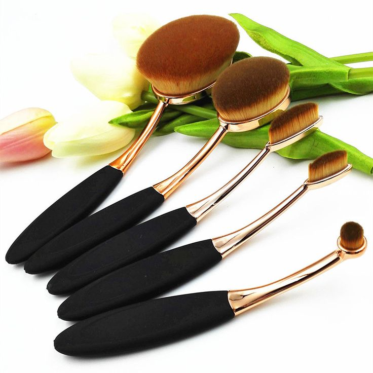 5 Piece Oval Brush Make Up Toothbrush Set 2016 Rose Gold Oval Makeup Brush Set Cosmetic Brushes For Makeup Oval Brush Set....LOVE THESE!