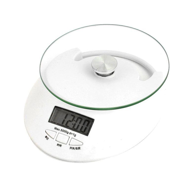 Unique Bargains Home Kitchen Food Measurement Tool Digital Electronic Scale White 5KG Capacity