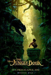 The Jungle Book, 2016, poster. An orphan boy is raised in the jungle with the help of a pack of wolves, a bear, and a black panther.