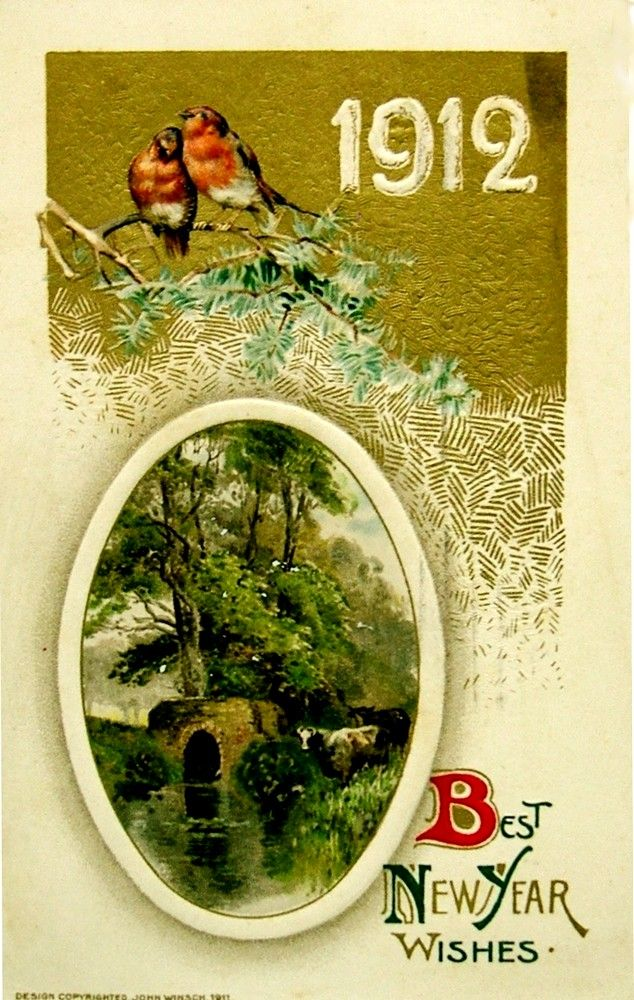 Old New Year Post Card — New Year Date 1911  (634x1000):