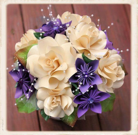 Papel flores ramo ramo de papiroflexia. por MyArteasure en Etsy