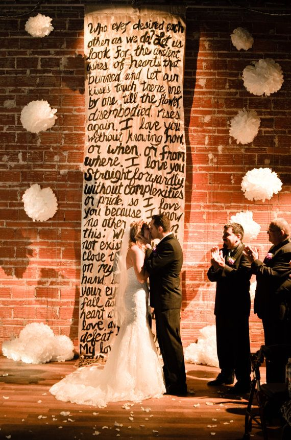 wedding renewal invitation ideas%0A Hand Painted Poetry Backdrop      ft Perfect for Wedding Ceremony   Sweetheart Table