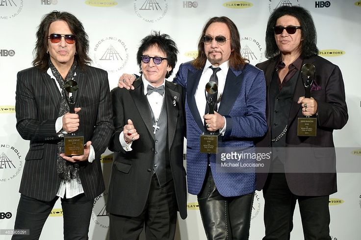 Inductees Paul Stanley, Peter Criss, Gene Simmons and Ace Frehley of KISS attend the 29th Annual Rock And Roll Hall Of Fame Induction Ceremony at Barclays Center of Brooklyn on April 10, 2014 in New York City.