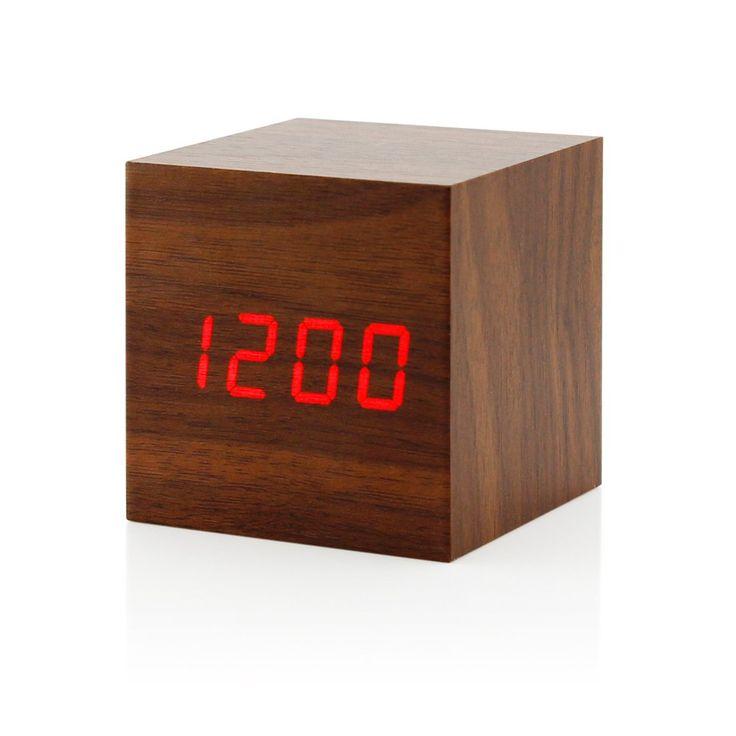 GEARONIC TM Ultra Modern Wooden LED Digital Alarm Cube Clock Thermometer Timer Calendar - Brown