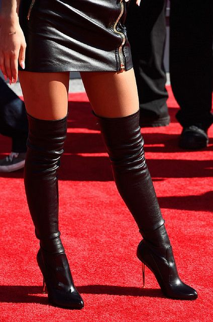 Ariana Grande 27 by Celebrities in High Boots, via Flickr thigh boots leather fashion outfit