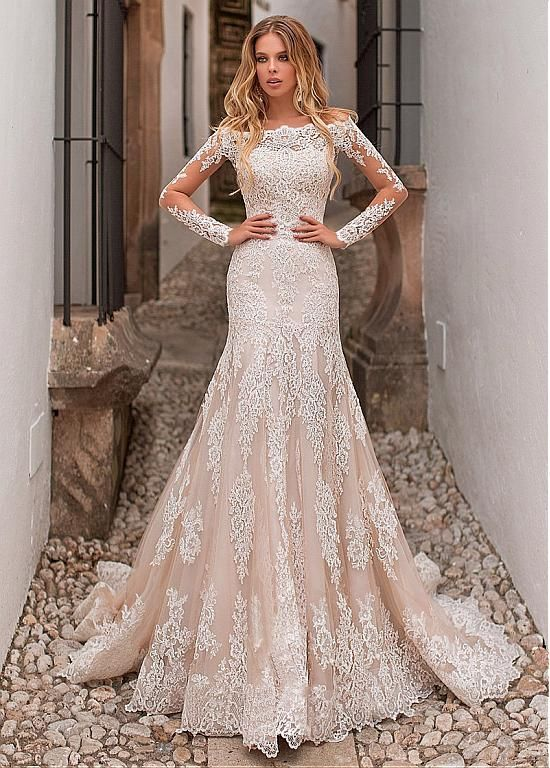 Magbridal Eyecatching Tulle Off-the-shoulder Neckline 2 In 1 Wedding Dress With Lace Appliques & Detachable Skirt