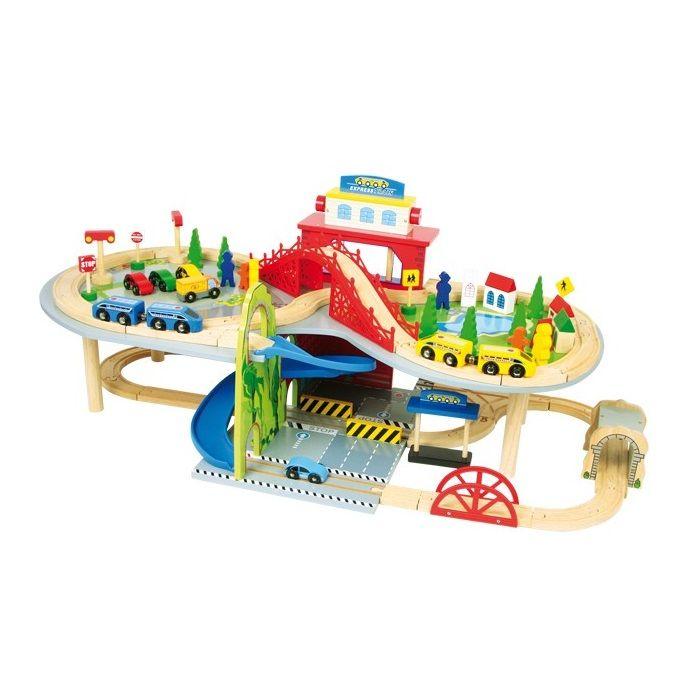 VEHI02.01.Circuito scalextric de trenes de madera de juguete con ascensor, 34 carriles, 2 puentes, 1 túnel y una rampa para hacer correr a los trenes