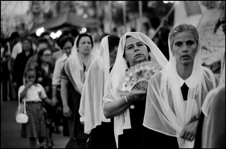 Ferdinando Scianna Photography: Women In The Religious Procession For Sant' Antonino Feast. Sicily, Italy 1976