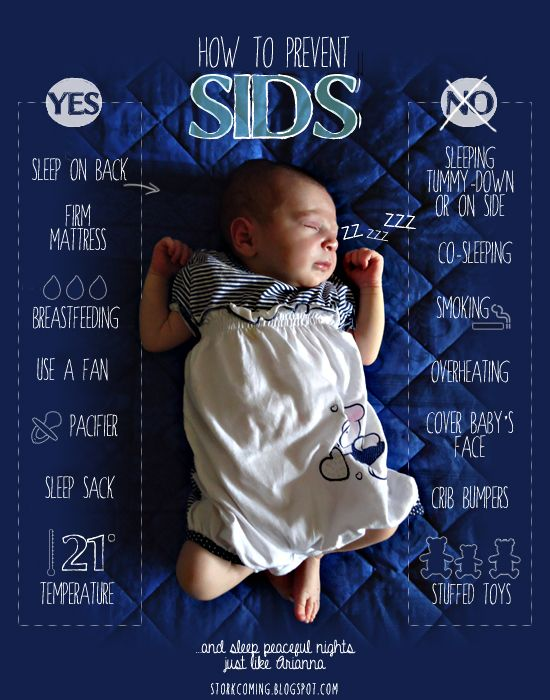 Preventing SIDS - sleep on back, firm mattress, breastfeeding, use a fan, use a pacifier, sleep sack