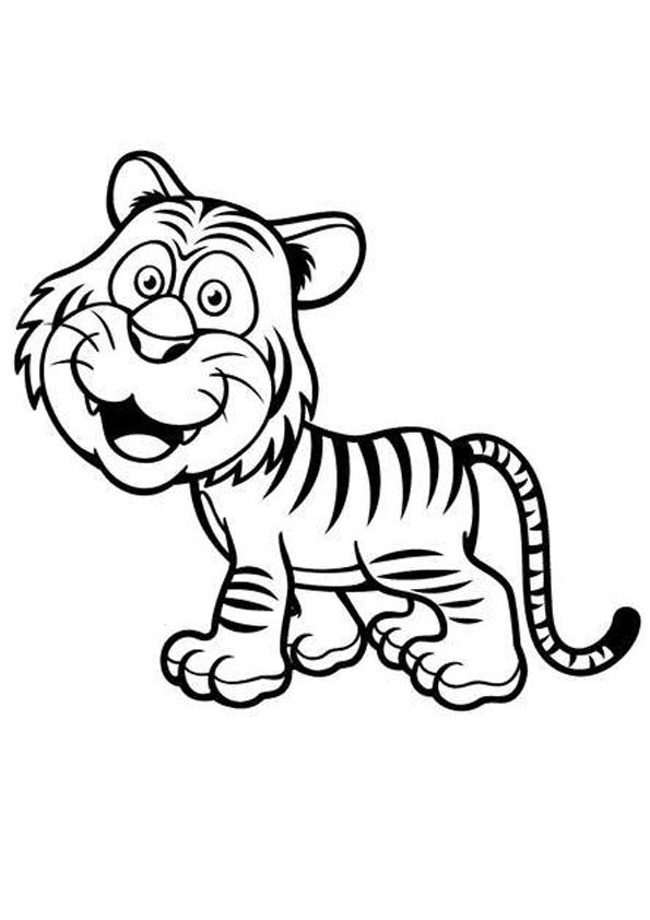 Animated Baby Tiger Coloring Page Coloring Pages Cartoon Tiger Printable Coloring Pages
