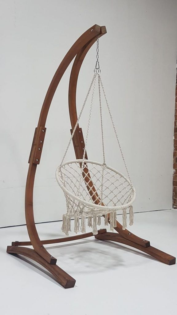 Maccrame Hanging Chair And The Wooden Stand Great Combination Hammock Chair Stand Diy Hammock Chair Hammock Swing Chair