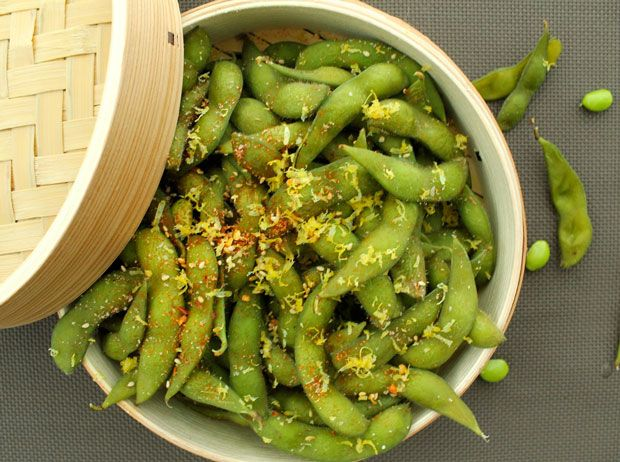 Spicy Edamame Recipe 1 pound  frozen  edamame ,  in   the  pod        1  tablespoon  kosher  salt (+    2  tablespoons  to  salt  the boiling   water )       ¼  tsp red  pepper  flakes        Pinch  of  cayenne  pepper        1  teaspoon  sesame  seeds      Zest  of    1  lemon Serves 2