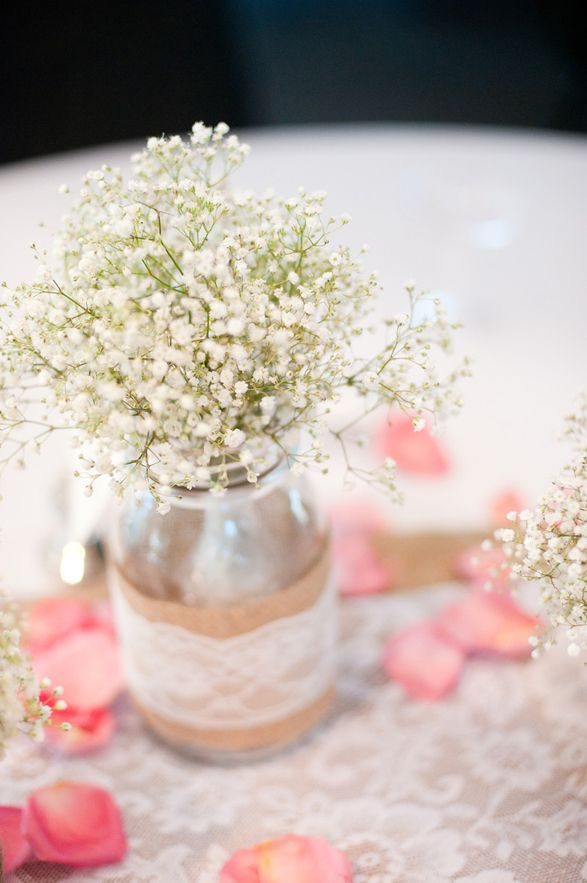 simple baby's breath centerpieces with burlap and lace - Google Search