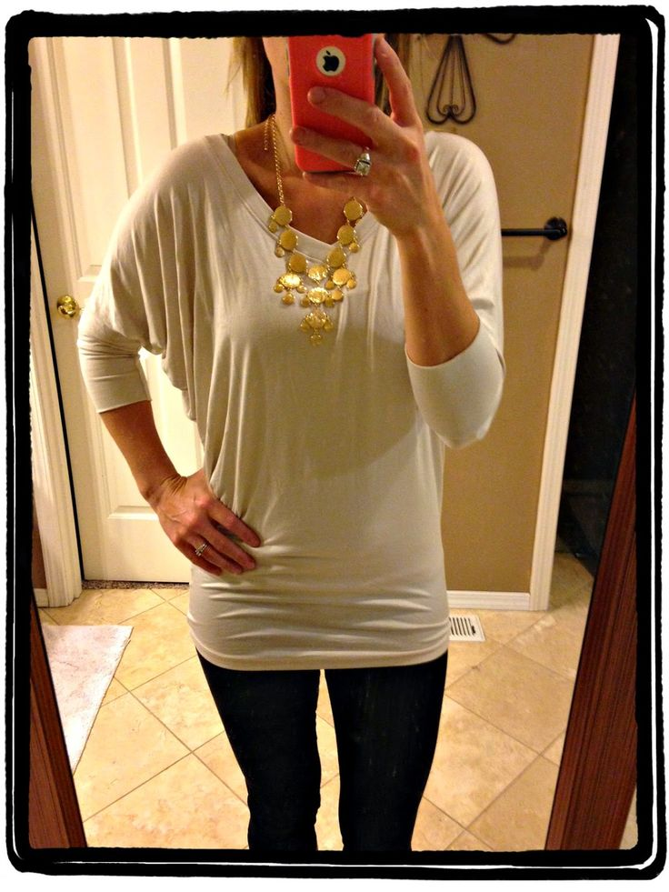 Market & Spruce Aleah V-Neck Solid Dolman Sleeve Shirt w/ Bancroft Leighton Metal Bauble Necklace. I think I have this same shirt in green and would love it in another colorway (not white).