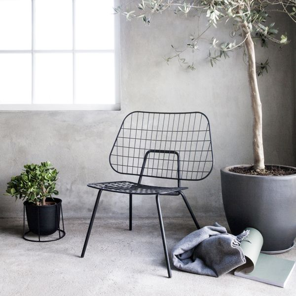 WM Wire lounge chair, black, by Menu.
