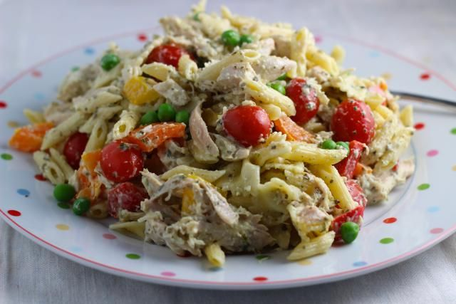 The Ten Best Summer Salads for Entertaining are Beautiful and Succulent: Pesto Chicken Pasta Salad