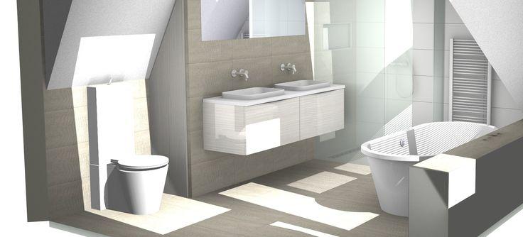 Badkamer op zolderverdieping onder schuin dak 3d for Inrichting badkamer 3d