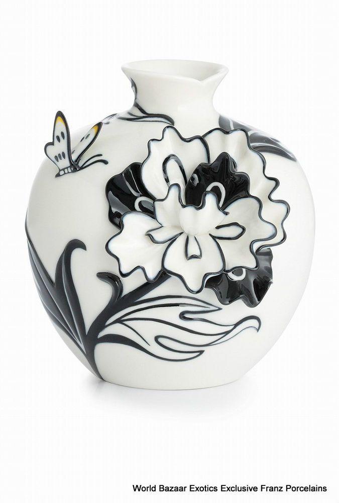 CP00002 Dielian Peony Franz Porcelain S Vase Flower Design Black White Exclusive