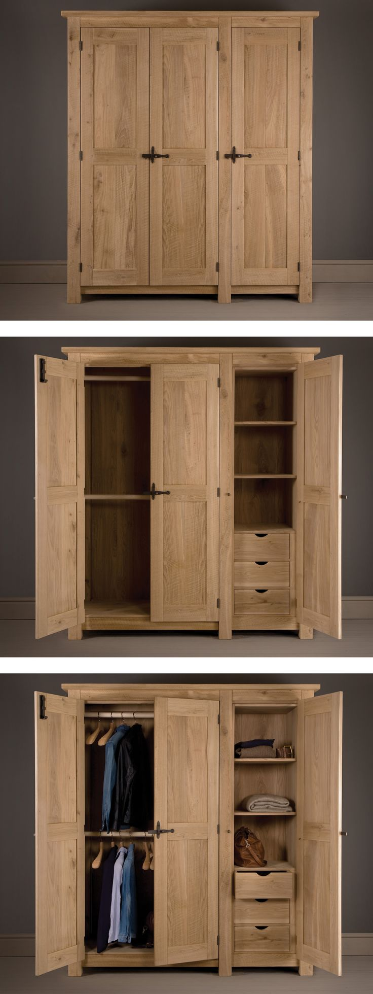 Indigo Oak Panel Wardrobe handcrafted with bespoke hand forged metal work. Create your own customised wardrobe interior from our options of handmade drawers and solid shelves. #solidwood #oakwardrobe #indigofurniture