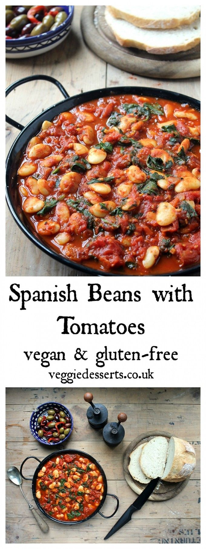 Spanish Beans with Tomatoes   Vegan & Gluten-Free   Veggie Desserts Blog  These Spanish beans with tomatoes and smokey sweet spices are so easy to make. They're perfect to serve as tapas or a side dish. Vegan and gluten-free.