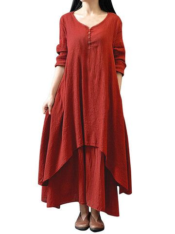 Vintage Women Long Sleeve V Neck Irregular Cotton Linen Long Dress