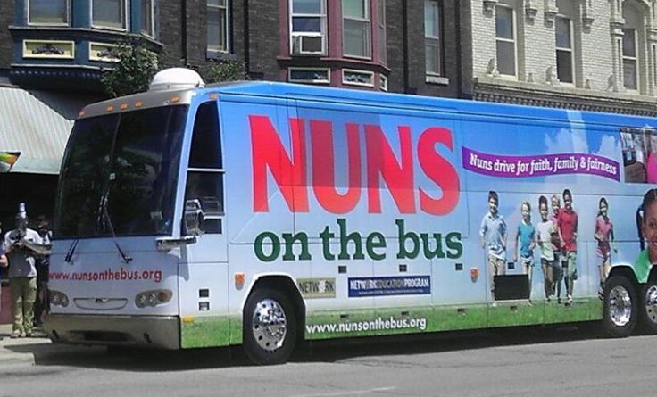 "The Nuns on the Bus Tour is an attempt to motivate opposition to a House budget that would sharply reduce spending on social services. Although they have been labeled ""radical feminists"" this didn't prevent the nuns from seeking to serve the highest good for one & all. Huffington Post Article"