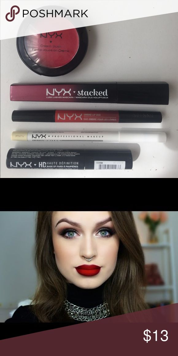 NYX rare in store mostly online only items Includes 5 items hard to find in stores: NYX cream blush in red cheeks NYX matte ombre lip duo in bonnie & clyde  NYX stacked voluminizing mascara NYX  faux whites waterline pencil eyeliner in vanilla ( light yellow nude) NYX hd eye shadow base primer Retail puts this bundle at +$30- second picture is a youtuber with the lipstick on NYX Cosmetics Makeup Lipstick