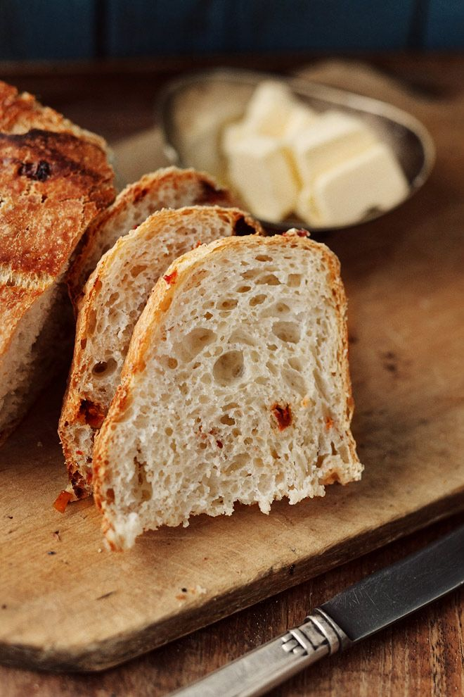 Homemade rustic sundried tomato bread